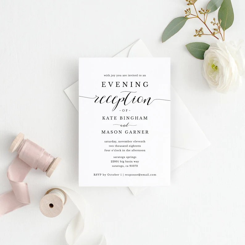 Printable Wedding Reception Invitation Template Evening Etsy