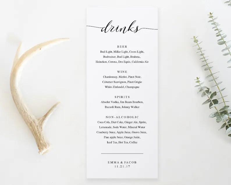 Drink Menu Template Printable Wedding Drink Menu Alcohol Etsy