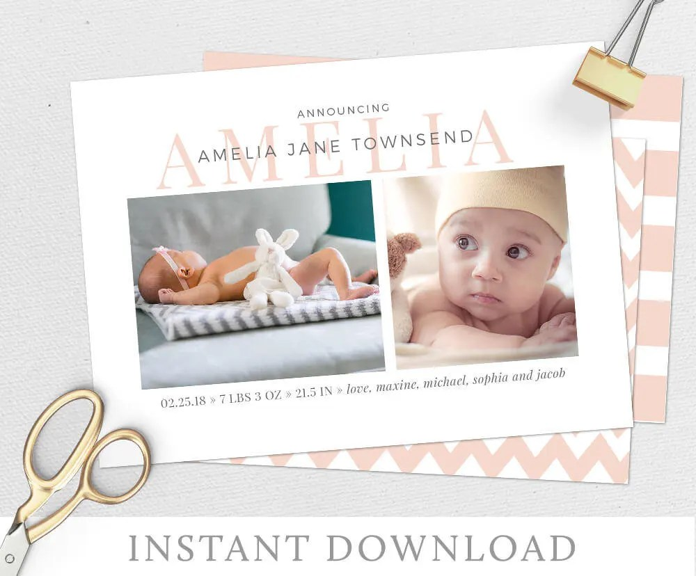 Birth Announcement Baby Announcement Baby Girl Announcement Etsy