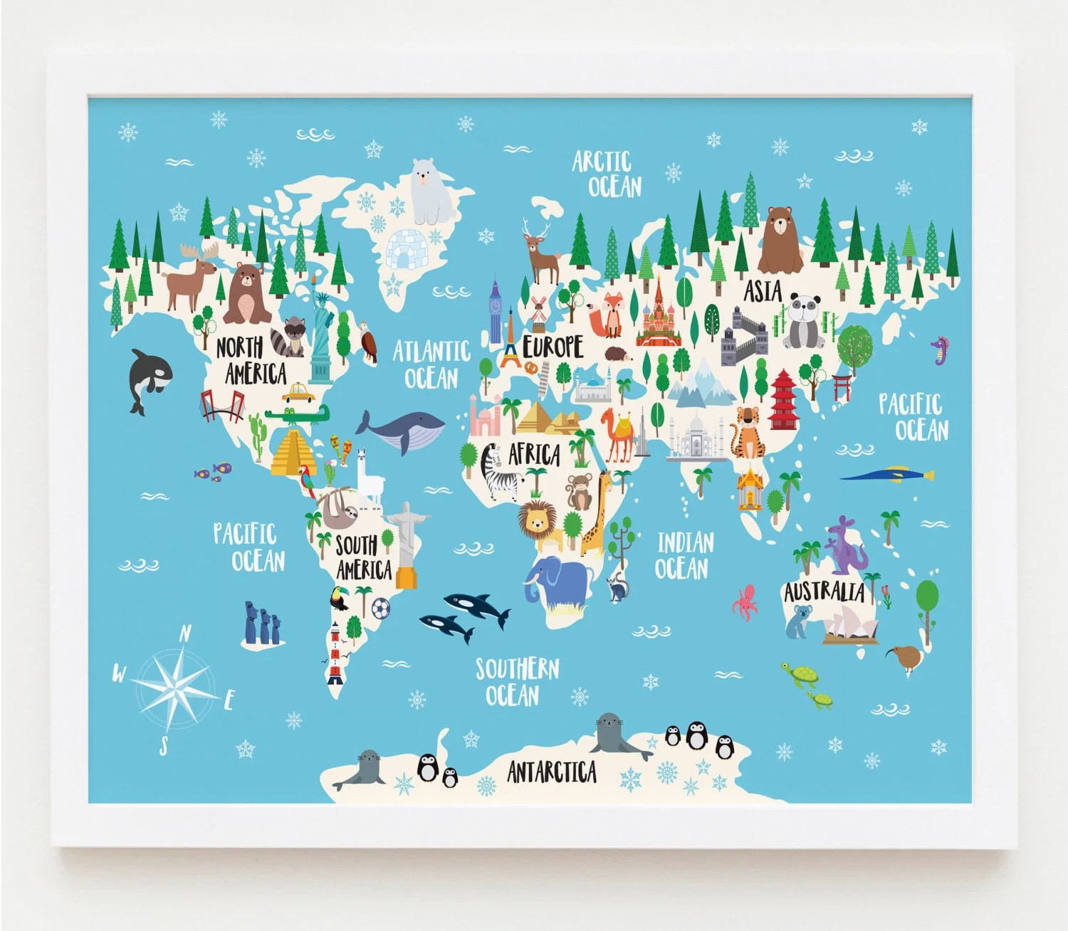 Animal World Map Print Kids World Map Poster Nursery World Etsy