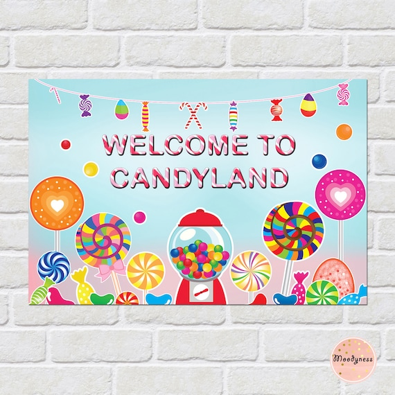 Candyland backdrop printable 24 x 36 Welcome to Candyland Etsy