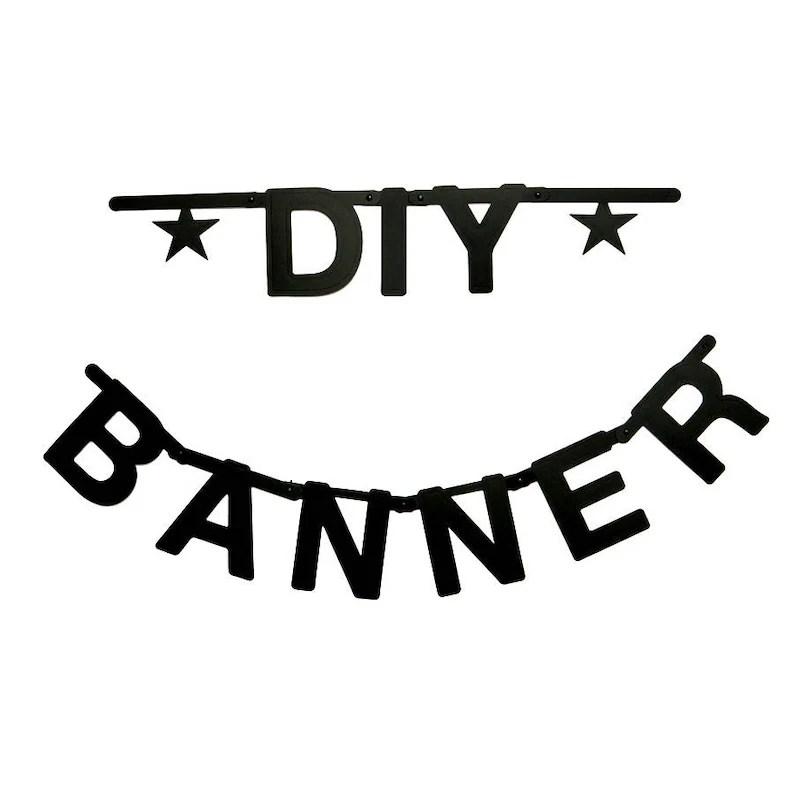 DIY Black Letter Banner Kit Word Banner Make Your Own Etsy