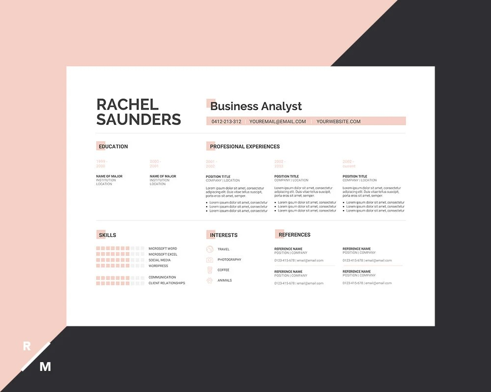Creative Resume Template  Cover Letter for Professionals Etsy