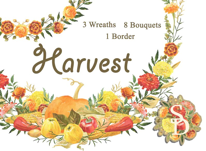 Harvest Bouquets Wreaths Seamless border Watercolor clipart Etsy