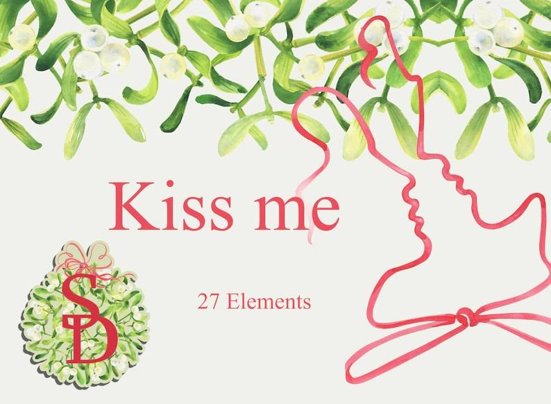 Mistletoe clipart Christmas watercolor Handpainted evergreen Etsy
