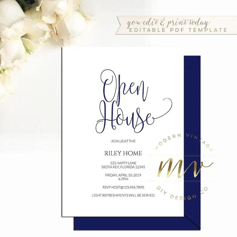 Open House Invitation template 5x7 editable printable invite Etsy