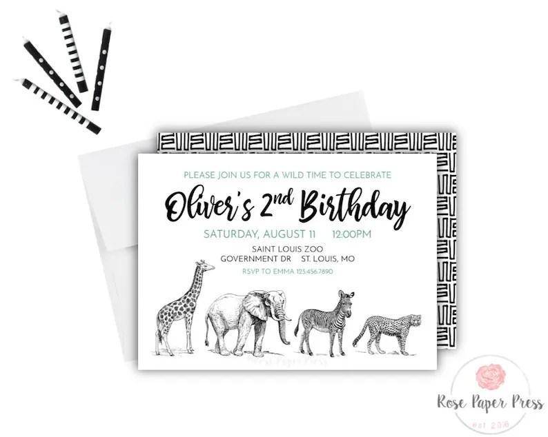 Zoo Birthday Invitation Modern Zoo Invite Printable Etsy