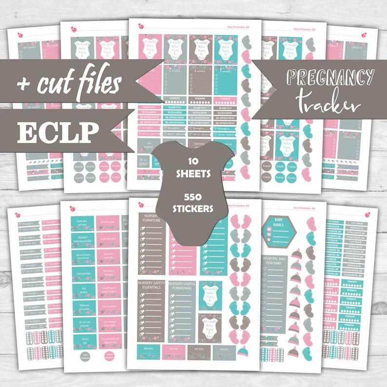 Pregnancy Tracker fits Erin Condren Planner Stickers Vertical Etsy