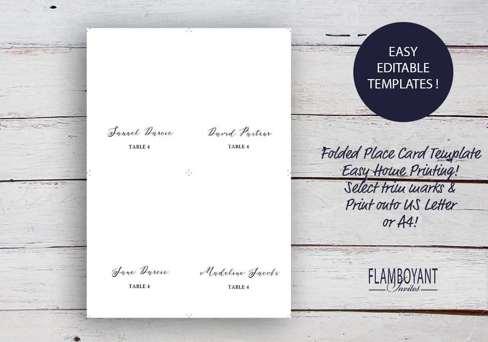 Elizabeth, Printable Place Cards/ Seating Cards, Classic Place Cards - folded place card templates