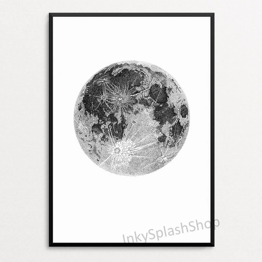 Full Moon Drawing Black And White Full Moon Drawing Print Bedroom Wall Decor Space Ink Art Modern Minimalist Home Interior Art Monochrome Kids Room Astronomy Poster Stippling