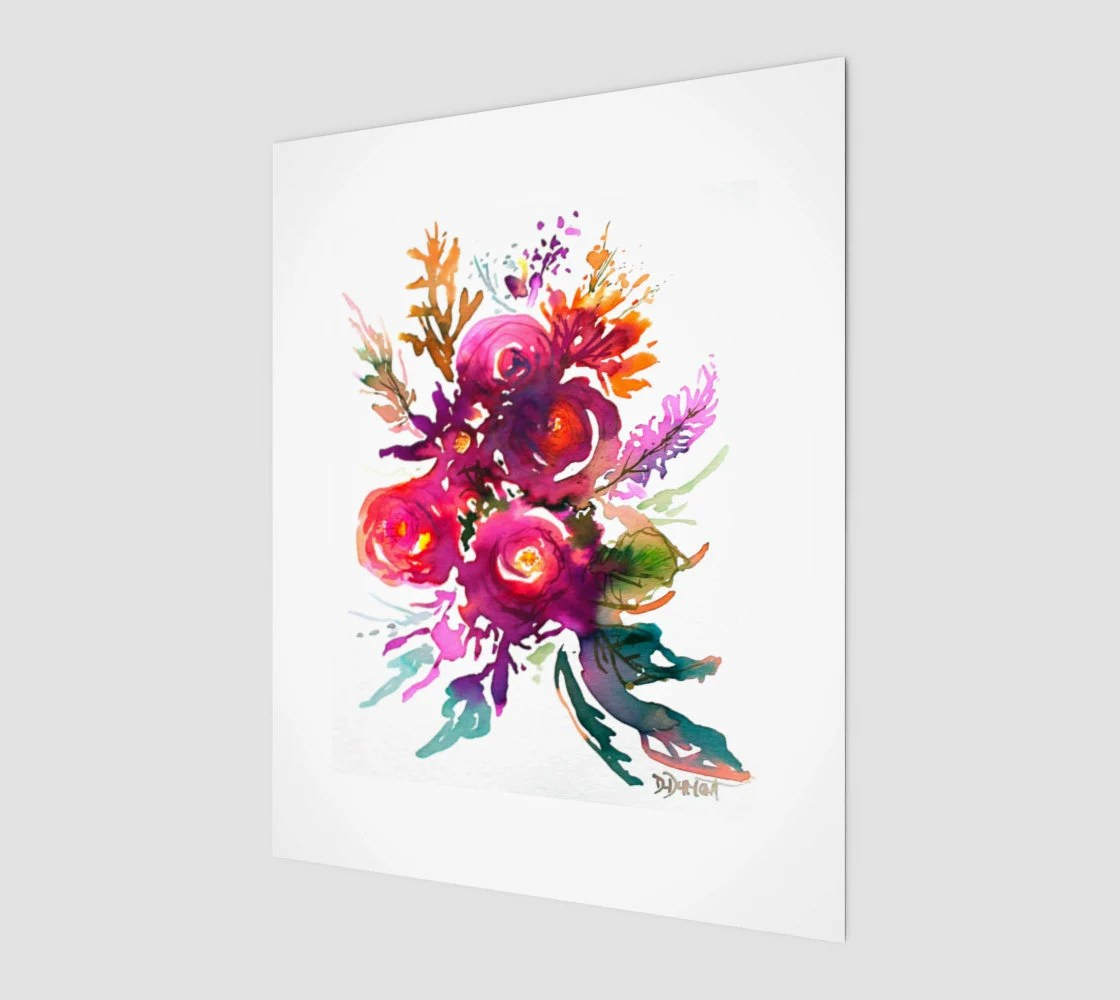 Tableau Affiche Wall Art Happy Roses Art Tableau Affiche Poster Reproduction Aquarelle Rose Fleurs