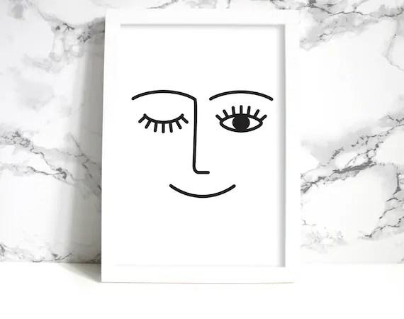 Minimalist Face Drawing Printable Wall Art Boho Chic Modern Etsy