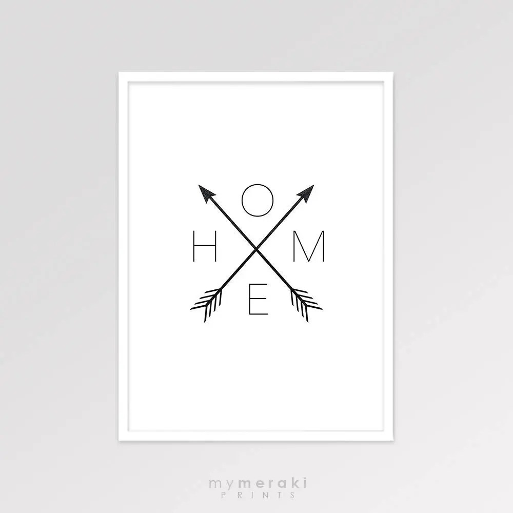 Affiche Scandinave Home Home Arrow Print Affiche Scandinave Arrow Home Sign Decor Home Arrows Black And White Printable Art Minimalist Artwork Wall Poster
