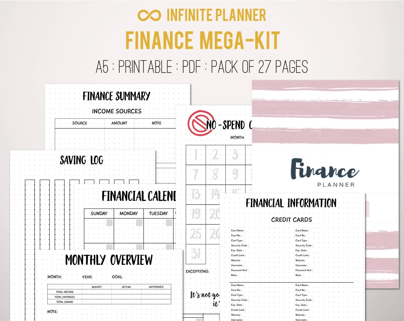 Finance Mega-Kit Financial Planner Personal Finance Budget