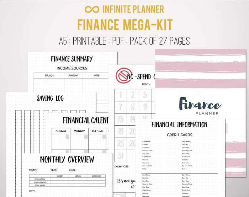 Finance Mega-Kit Financial Planner Personal Finance Budget Etsy