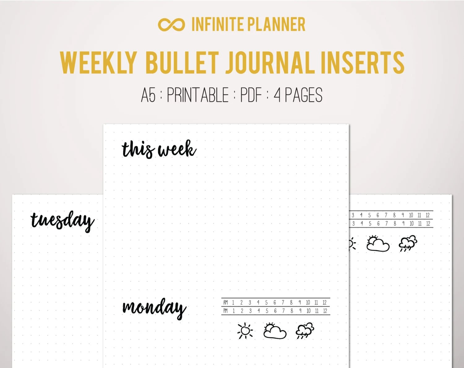 A5 Weekly Layout on 4 Pages Bullet Journal Printable Etsy