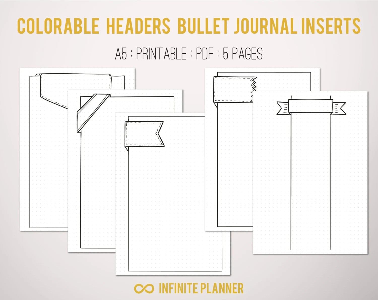 Cute Page Template 5 pages Bullet Journal Printable Etsy
