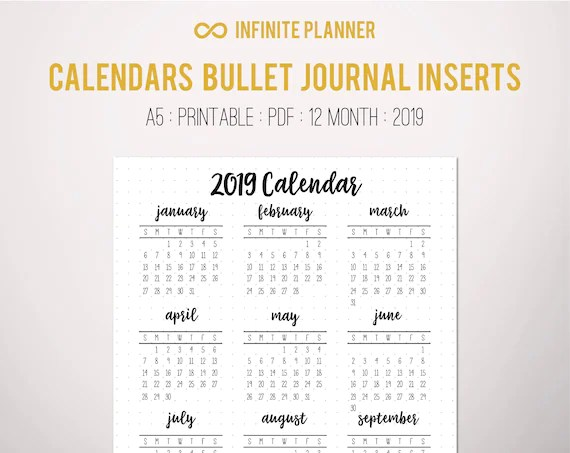 2019 Calendar Year at a Glance Page A5 or Sticker Bullet Etsy