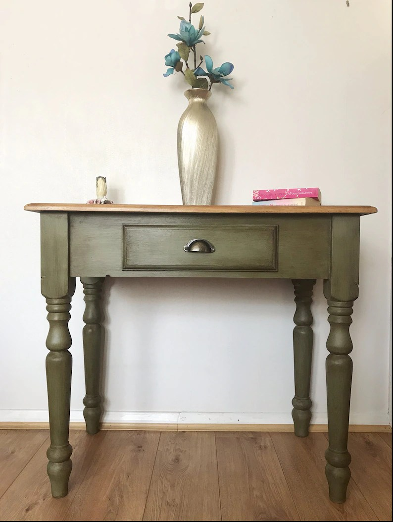 Vintage Hall Table Sold Vintage Pine Table Hall Table Console Table Desk With Drawer Refurbished Upcycled Annie Sloan Hand Painted Furniture