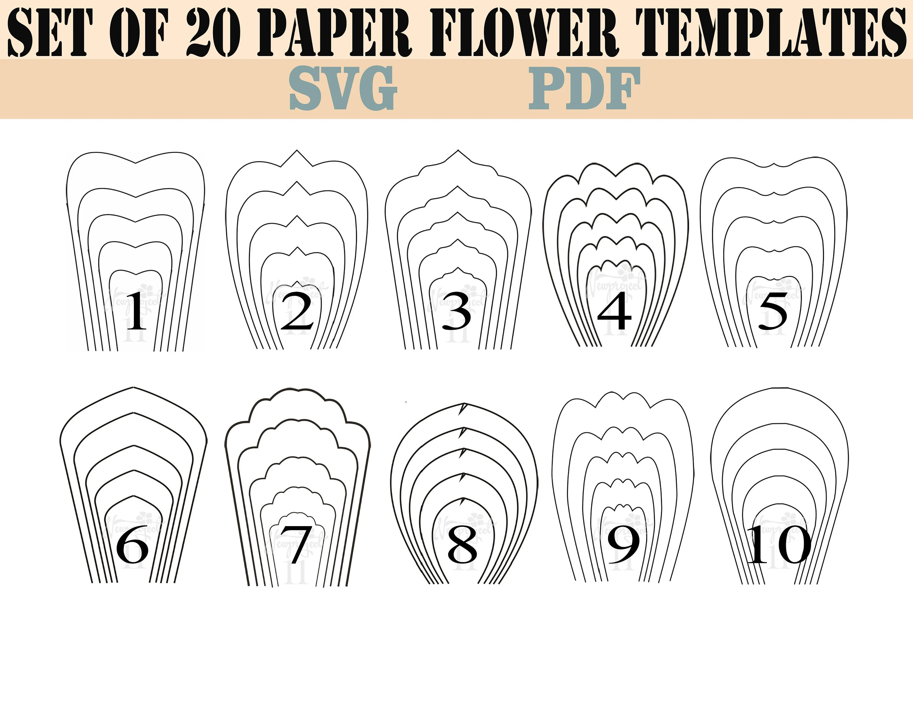 Bundle 1-All 20 PDF  SVG Paper Flower Template giant paper Etsy