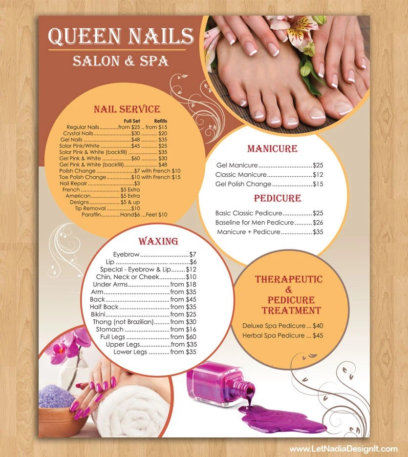 Price List for Nail Salon PRINTING Etsy