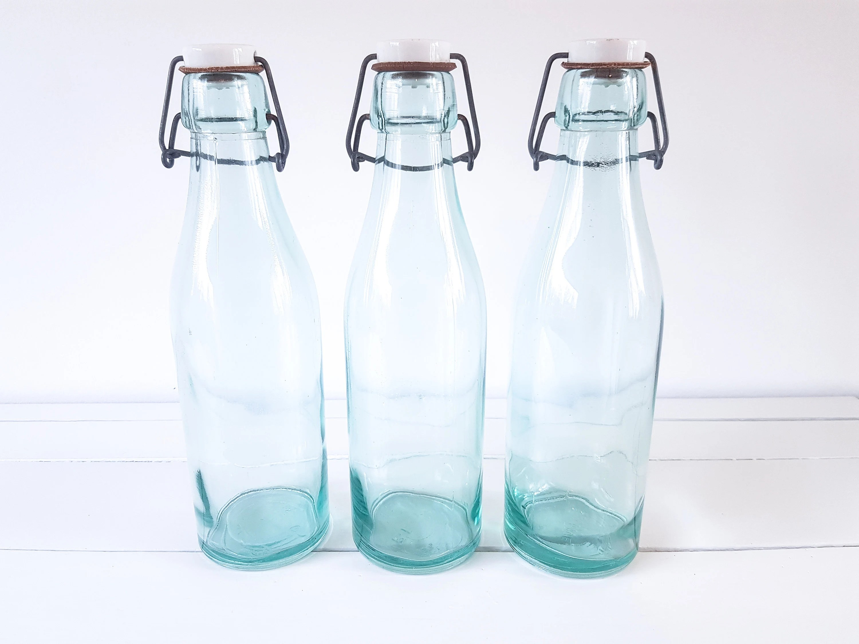 Milk Bottles For Decoration Old Glass Milk Bottle With Bracket And Porcelain Cap Vintage Aqua