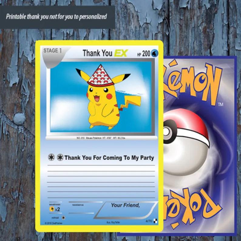 Pokemonpokemon trading card Pokemon thank you Pokemon card Etsy
