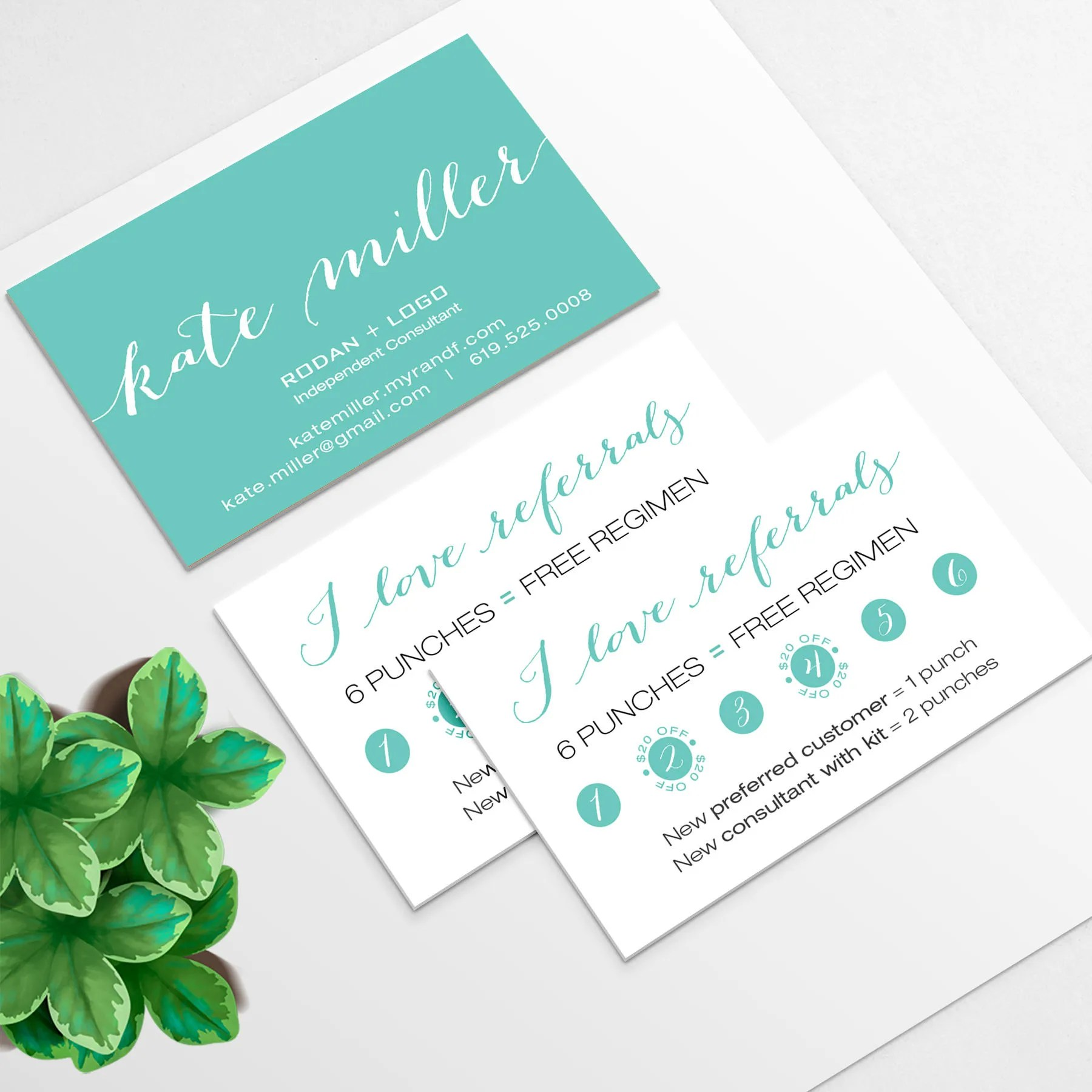 Rodan and Fields Business Card and Referral Punch Card for Etsy