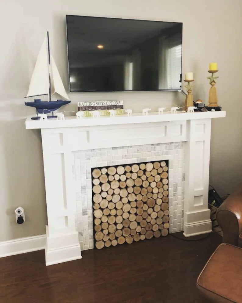 Build Your Own Fireplace Insert Handcrafted Fireplace Premium Birchwood Screen Fireplace Cover Baby Proof Fireplace Screen