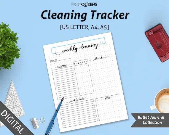 Cleaning Planner Printable, Cleaning Schedule, Cleaning Checklist