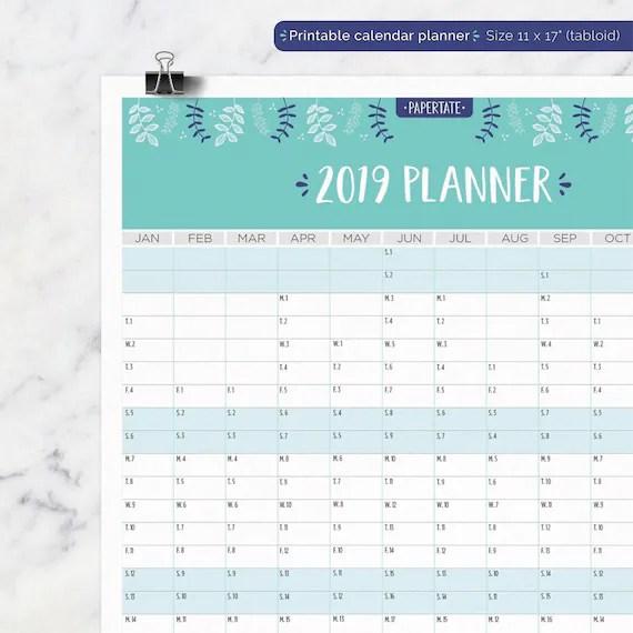 Botanical Printable Calendar Calendar Planner Printable 2019 Etsy