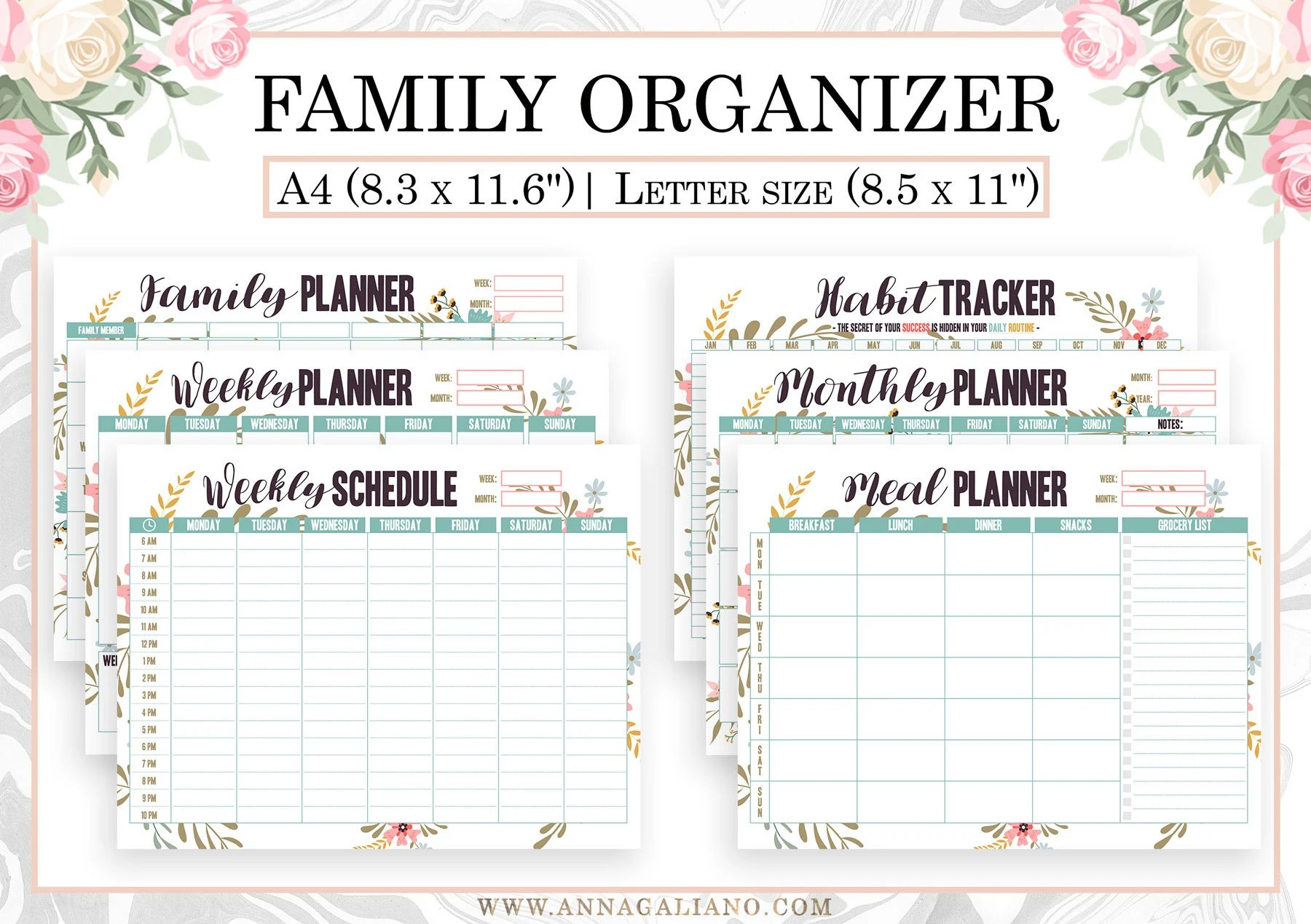 Family Organizer Printable Homeschool Hourly Planner Weekly Etsy