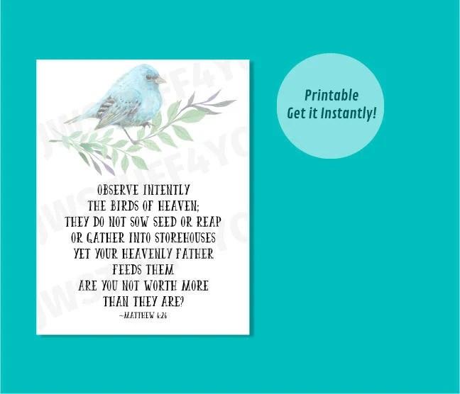 Matthew 626 NWTObserve the Birds of HeavenJW Printable Wall Etsy