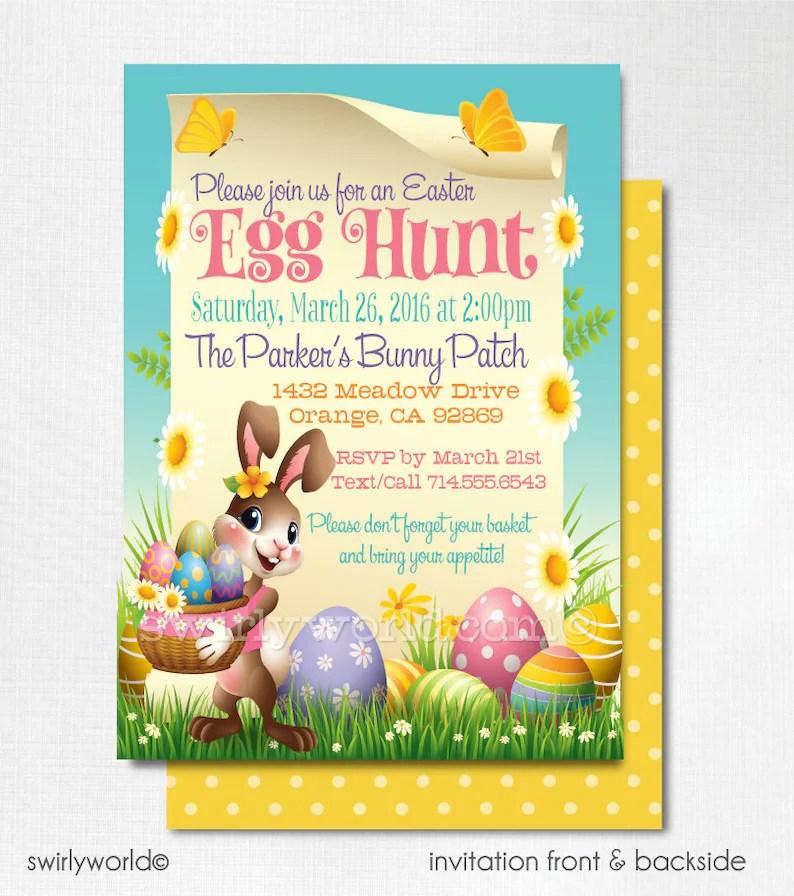 Easter Party Invitations Egg Hunt Easter Invites Easter Egg Etsy