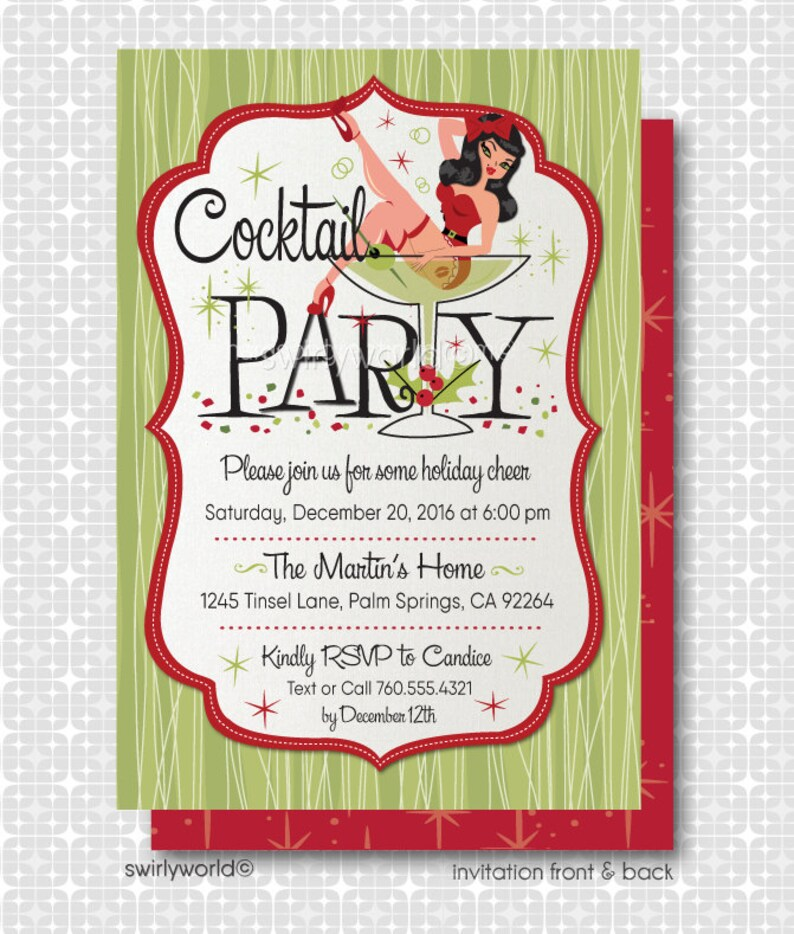 Retro Pinup Martini Christmas Cocktail Party Invitations Etsy