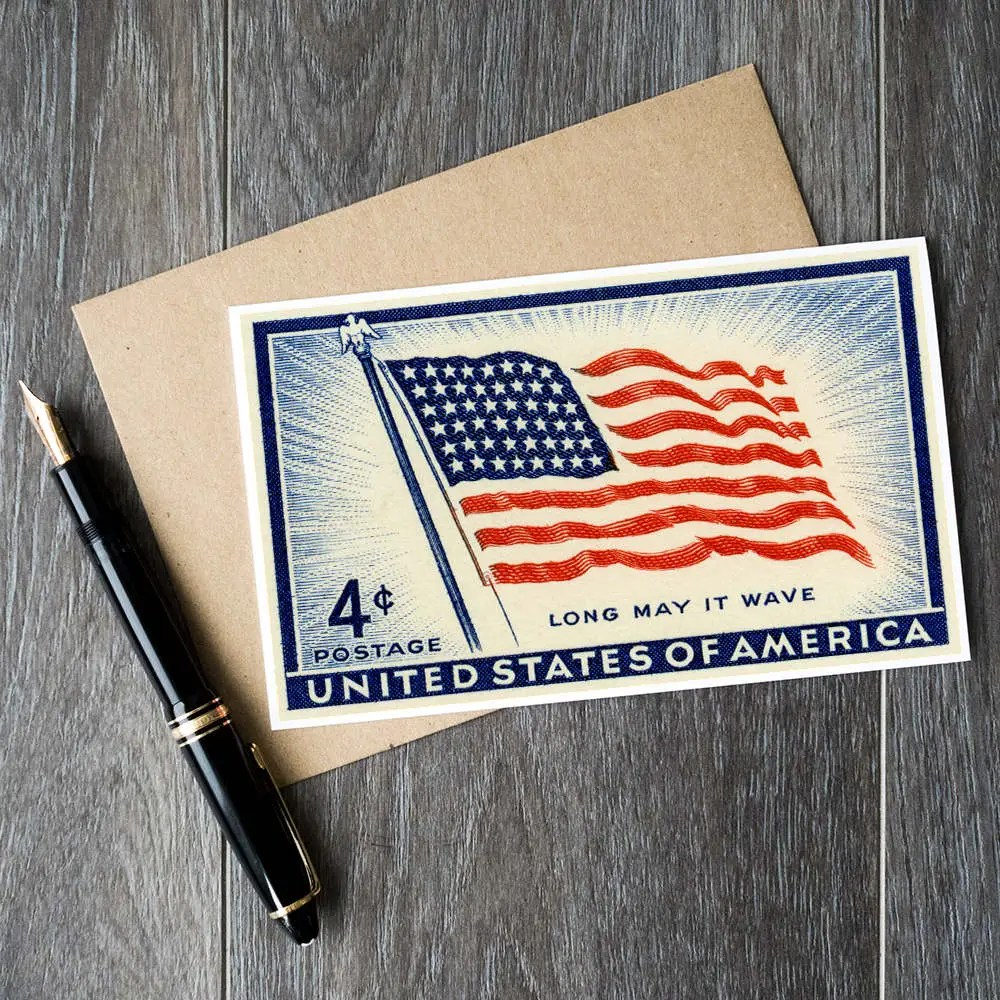 Fourth of July cards US Independence Day cards Old Glory Etsy