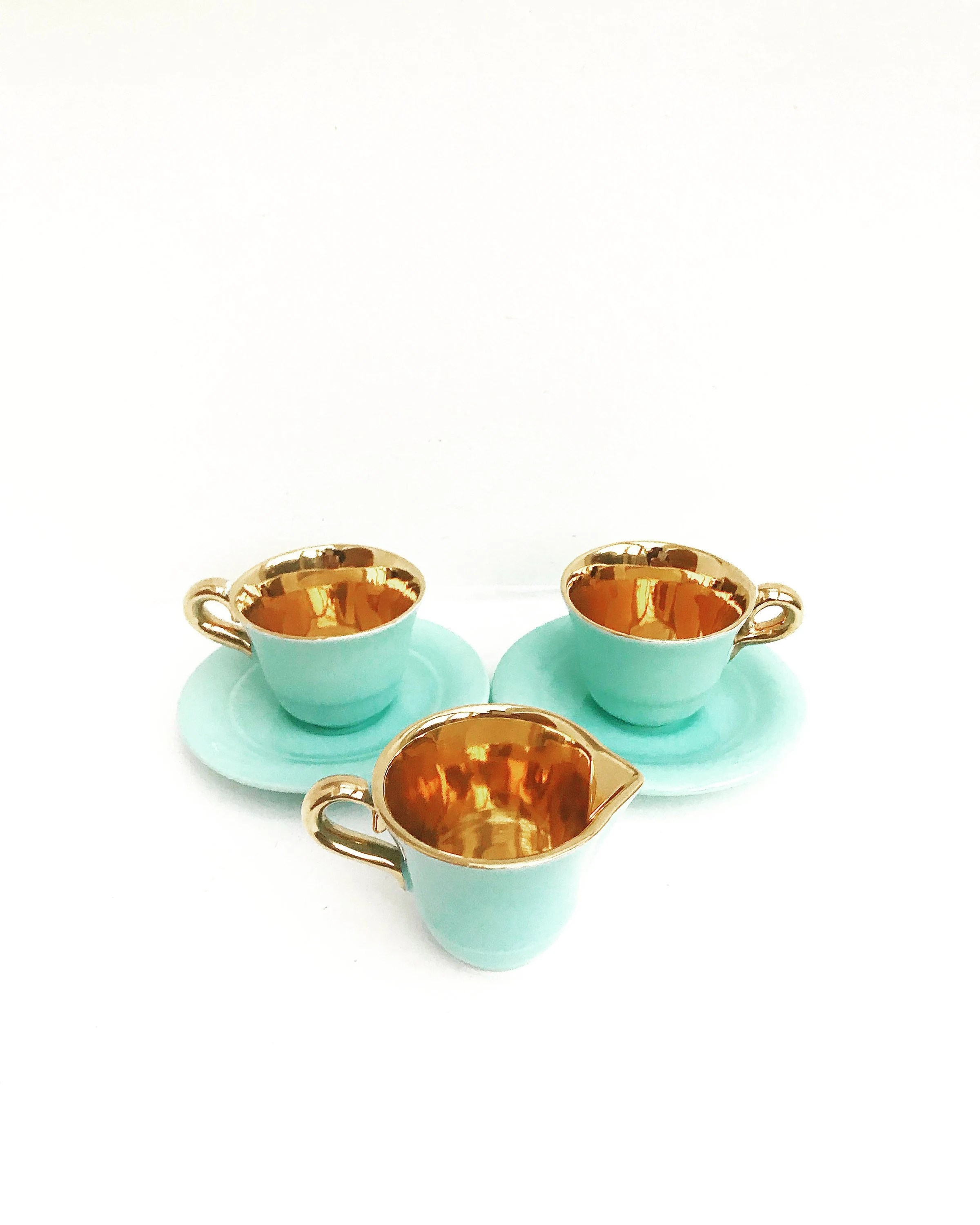 Small Coffee Cups And Saucers Aqua Coffee Set Belgian Pottery 2 Small Coffee Cups With Saucers And