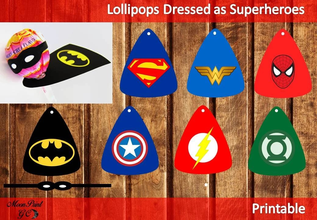 Superhero Brilliant Lollipop Dressed as Superhero Printable Etsy