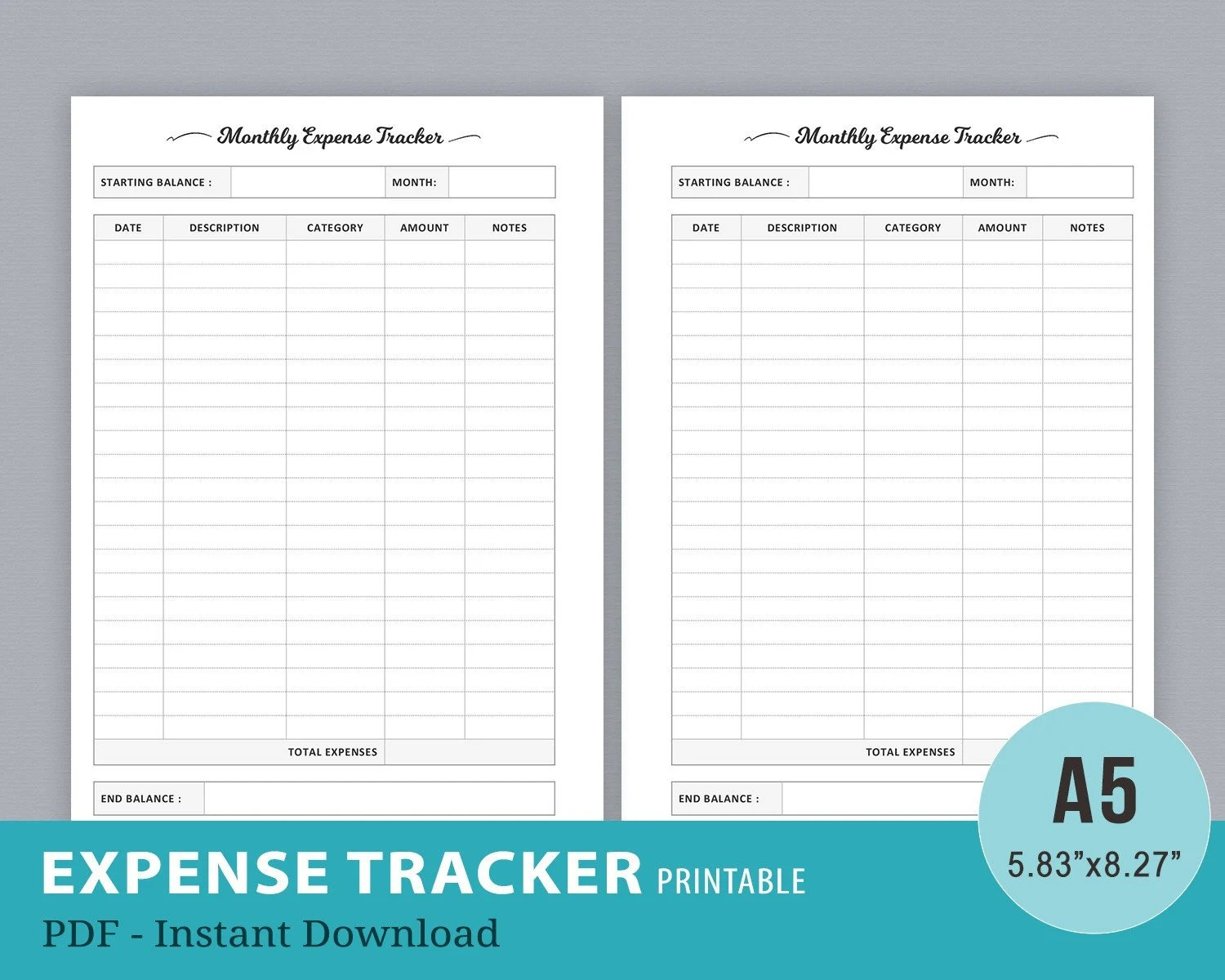 Expense Tracker Budget Planner Monthly Finance Planner Etsy