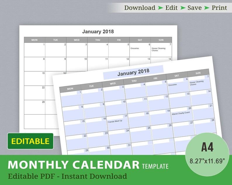Editable Calendar Template Editable PDF Printable Calendar Etsy