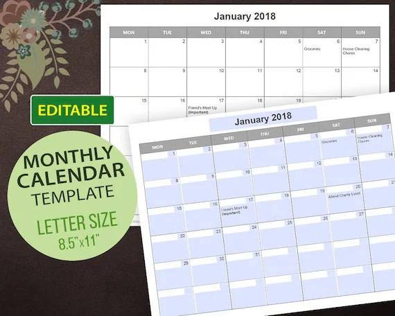 Editable Calendar Templates Editable PDF Printable Calendar Etsy