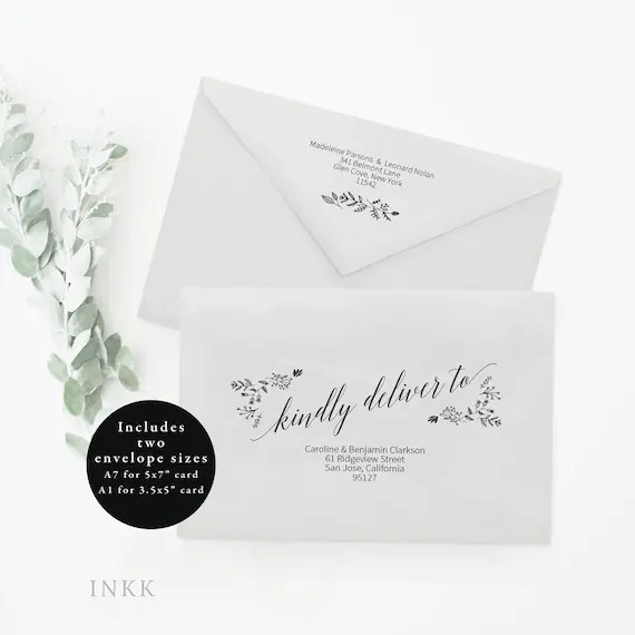 Printable Envelope Template Editable Envelope Template A7 Etsy - sample 5x7 envelope template