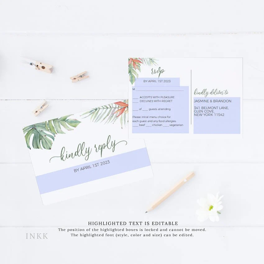 Tropical RSVP Cards RSVP Postcard rsvp template wedding Etsy