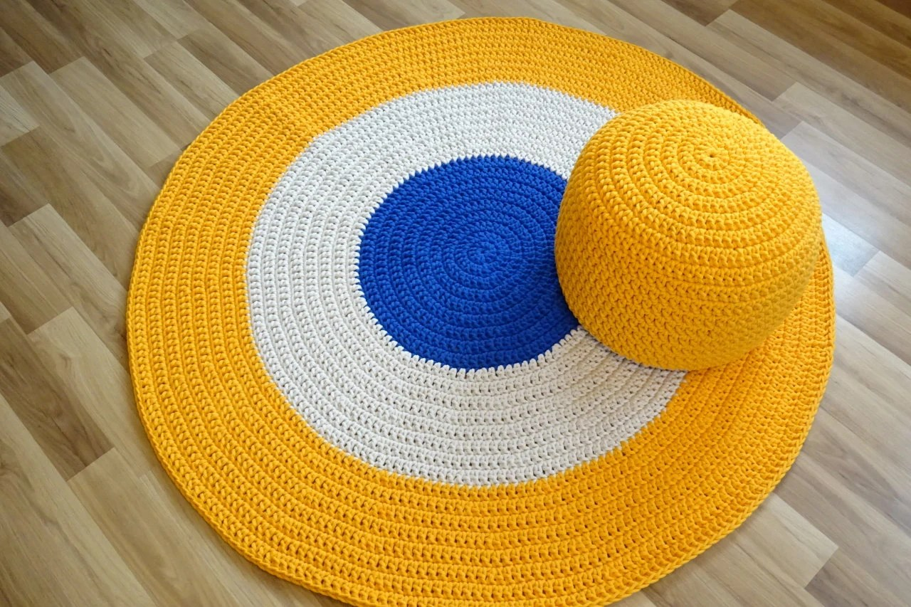 Rugs For Kids Round Rug For Kids Room Toddler Boy Gifts Yellow Floor Round Rug Nursery Rug Crochet Round Rug Kids Rug Toddler Boy Room Decor