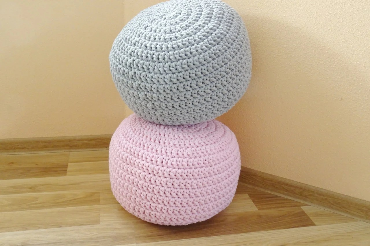 Pouf Sitzkissen Crochet Pouf Round Pouf Ottoman Scandinavian Floor Pillows Footstool Cotton Cord Kids Pouf Stuffed Pouf Sitzkissen Siege Nursery
