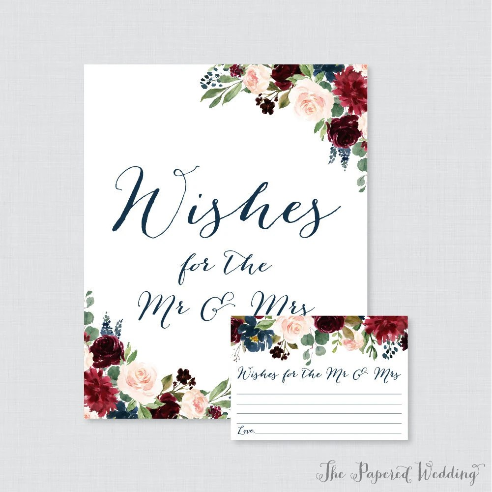 Printable Wedding Wishes Cards Navy Marsala Floral Wishes Etsy