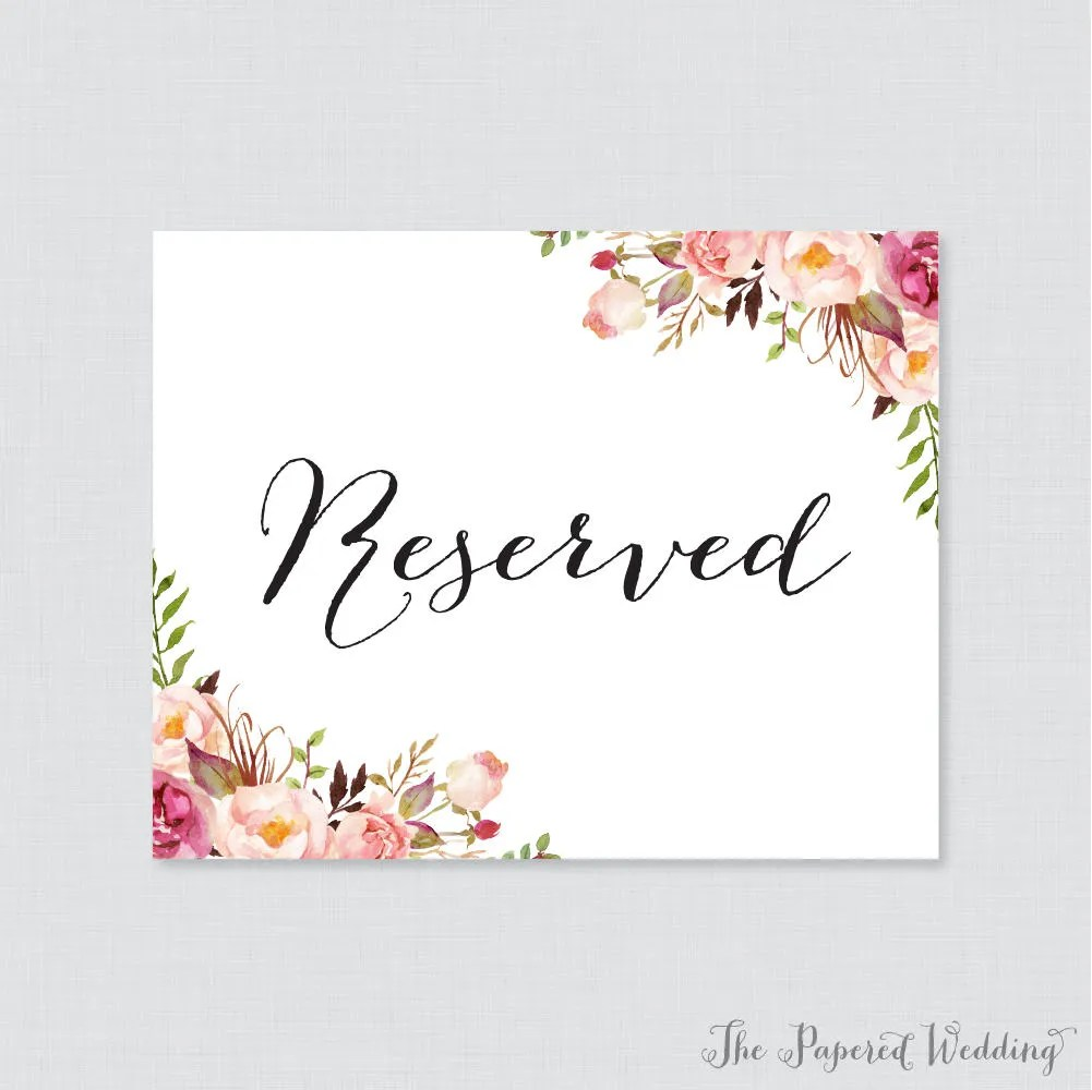 Printable Wedding Reserved Signs Pink Floral Reserved Etsy