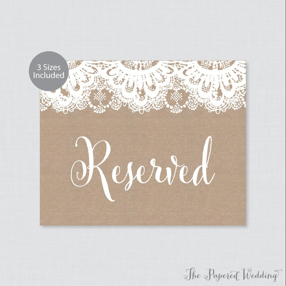 Printable Wedding Reserved Sign - Rustic Burlap and Lace Reserved
