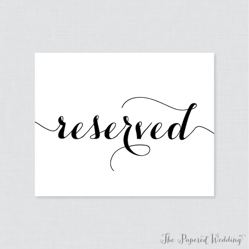 Printable Wedding Reserved Signs Black and White Reserved Etsy