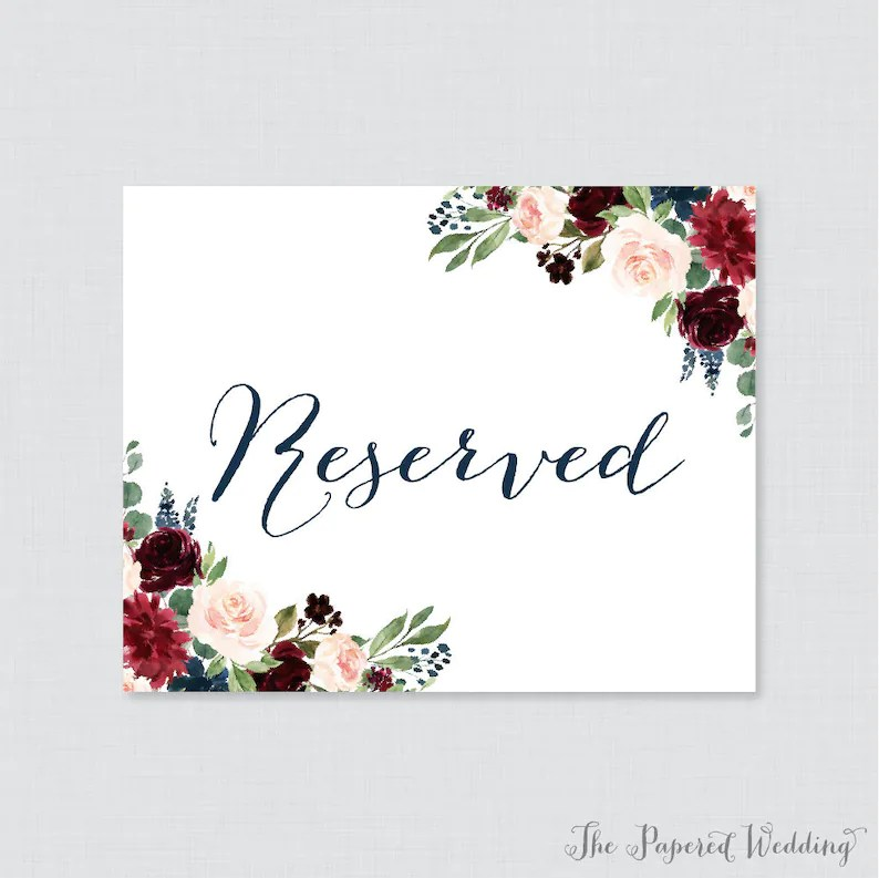 Printable Wedding Reserved Signs Navy and Marsala Floral Etsy